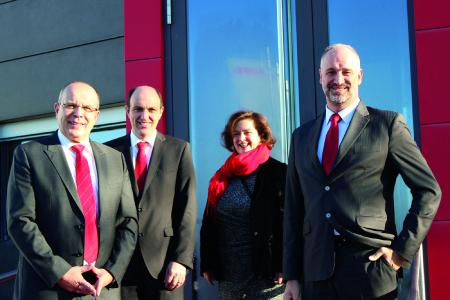 From left to right: Kögel Managing Directors, Thomas Heckel, Thomas Eschey, Petra Adrianowytsch, and Massimo Dodoni