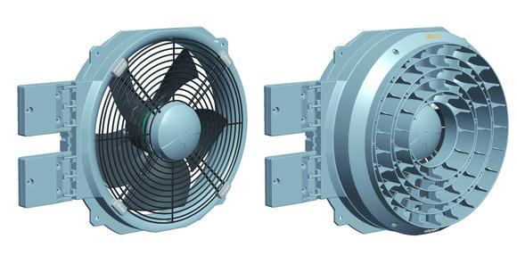 Robuste Kompaktlösung AxiCool: Axialventilatoren für Verdampfer-Anwendungen mit Scharnierbefestigung. Der optionale Strömungsgleichrichter (rechtes Bild) kann die Wurfweite im Idealfall mehr als verdoppeln. (Fotos: ebm-papst Mulfingen)