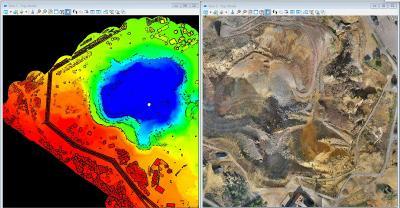Die erfassten Daten unterstützen die Visualisierung einer LiDAR-Punktwolke der Great Pit auf der linken Seite und eines Orthophotos des Gebiets auf der rechten Seite.