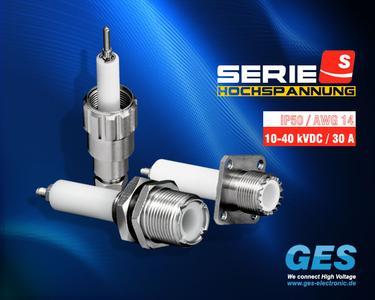einpolige Hochspannungssteckverbinder Serie-S, 10-40 kVDC / 30 A, GES Electronic & Service