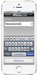 Wenn es mal wieder schnell gehen soll: Mit der Stichwortsuche in cobra Mobile CRM werden im Handumdrehen die aktuellsten Adressen und Einträge zu einem Thema gefunden. Bild: cobra