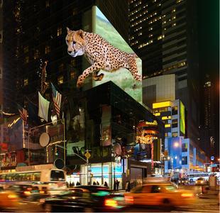 Neuartiges 3D-Erlebnis: Anwendungsbeispiel autostereoskopisches 3D auf dem Times Square, New York (Visualisierung), Bild: TriLite Technologies GmbH