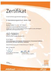 ISO 50001-Zertifikat des ITDZ Berlin