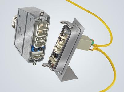 Han-Modular® Switch US4 in a modular connector to transfer power up to 40 A, signals, and compressed air