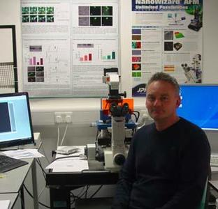 Dr Paul Squires from the University of Warwick with his JPK CellHesion® 200 system
