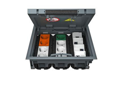 Der Geräteeinsatz GES9-3 bietet Platz für bis zu zwölf Modul 45-Installationsgeräte