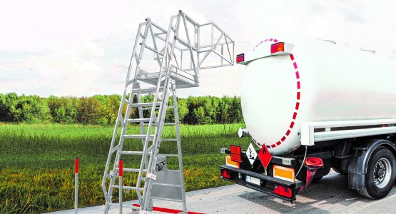 Sicher und variabel bei jeder Witterung: Die Hymer Tankwagenleiter 2280 eignet sich für unterschiedlichste Einsatzszenarien im Nutzfahrzeugbereich