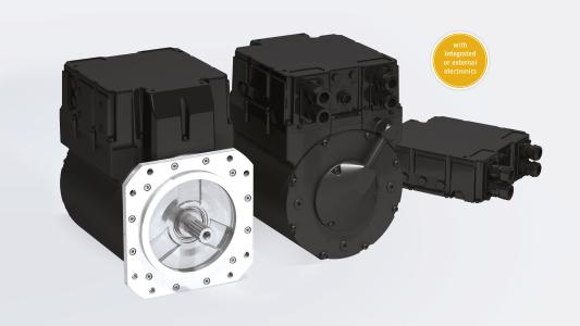 The drive concept powerMELA® consists of a combination of permanent magnet synchronous motor and power inverter for the four-quadrant operation and is suitable as a hybrid or purely electric drive system for commercial vehicles and mobile working machines