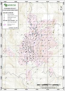 Abbildung 1: Lageplan der Bohrköpfe für die Bohrlöcher bei El Domo (13. April 2021)