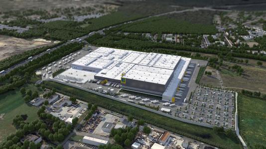 Foto: phase 5 GmbH Aus dem neuen Verteilzentrum in Oberhausen werden zukünftig fast 600 EDEKA-und Trinkgut- Märkte beliefert.
