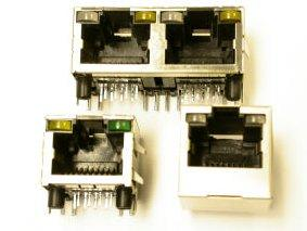 RJ45 jacks have optional LEDs and stacking versions