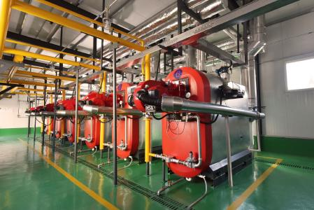 Ein Teil der Uni Condens Heizkesselsysteme aus dem ersten Auftrag – jeder liefert 1,2 MW Wärme