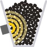 Darstellung der Neutronenfeuchtemessung von Koks in einem Bunker