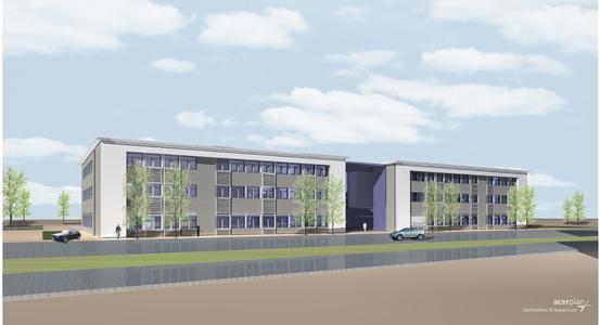 Ein Meilenstein in der Entwicklung von PHOENIX West: das Zentrum für Produktionstechnologie, das derzeit auf dem Zukunftsareal im Dortmunder Stadtteil Hörde entsteht, im Entwurf.