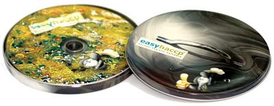 easyhaccp Software CD in Produktverpackung (schematischer Kochtopf in der Gesetzessuppe aus der das Paragrapfenmännchen auftaucht)