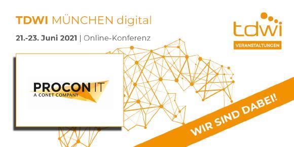 Das IT-Beratungshaus PROCON IT nimmt an dem Branchentreff TDWI München digital 2021 teil.