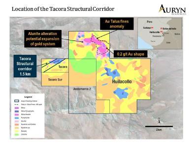 Abbildung 1 zeigt die Lage des 1,5 Kilometer langen strukturellen Korridors, in dem die bei Tacora entdeckte Oxid-Gold- und Silbermineralisierung lagert