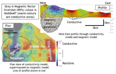 Abbildung 1. Bilder der kombinierten magnetischen 3D-Vektorinversion (grauer Körper) mit der 3D-Inversion von MobileMT-Daten