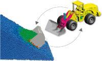 Simulation der Wechselwirkung von Boden- und Radladermodell beim Befüllen der Schaufel / ©Fraunhofer ITWM