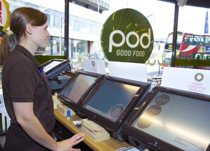 Line of Odyssé integrated EPOS  in a POD restaurant (London)