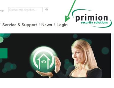 primion Loginbereich Homepage