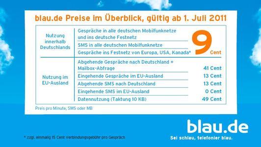 Erneute Preissenkung bei blau.de für Mobiltelefonate im EU-Ausland