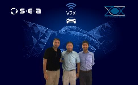 S.E.A. Datentechnik announcement of partnership with ZoX  Technologies Corporation Ltd. , as regional integration partner for China and Taiwan. People from left to right: Gerd Schmitz (CEO of S.E.A. Datentechnik GmbH), Haowen WANG (CEO of ZoX Technologies Corporation Ltd.), Yunsong (CTO of ZoX Technologies Corporation Ltd.)