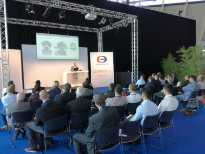 Cevotec CTO Felix Michl presents Fiber Patch Placement technology at Composites Europe Stuttgart
