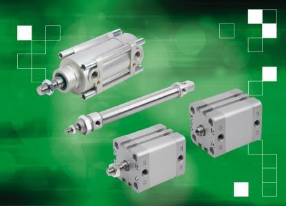 Im Bereich der Pneumatikzylinder bietet norelem drei DIN-ISO-genormte Typen in verschiedenen Hublängen und Kolbendurchmessern an