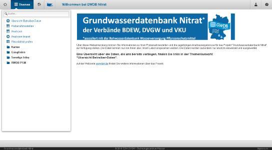 Startseite der neuen Grundwasserdatenbank Nitrat, die das DVGW Technologiezentrum Wasser im Auftrag der Verbände BDEW, DVGW und VKU betreibt