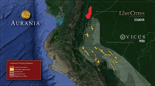Abbildung 1. Karte mit der ungefähren Lage der Anträge auf Mineralkonzessionen in Peru, die von Auranias Tochtergesellschaft Vicus gestellt wurden, im Verhältnis zu Auranias Lost Cities - Cutucu-Projekt in Ecuador. Die Karte zeigt die Verteilung der geophysikalischen Daten unterschiedlicher Art, die für die Exploration der Konzessionen relevant sind und vom peruanischen Staat zur Verfügung stehen