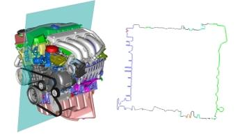 Color-preserving data reduction (Entkernen) of an engine (77% reduction) with the Teraport model DMU.SurfaceFilter