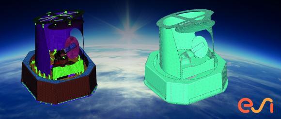 Modèles de simulation vibro-acoustiques FEM et BEM d'une charge utile de satellite pour des applications spatiales avec ESI VA One