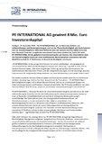 [PDF] Pressemitteilung: PE INTERNATIONAL AG gewinnt 8 Mio. Euro Investorenkapital