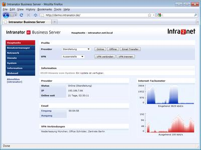 Screenshot Software-Version Intranator Business Server (www.intra2net.com)