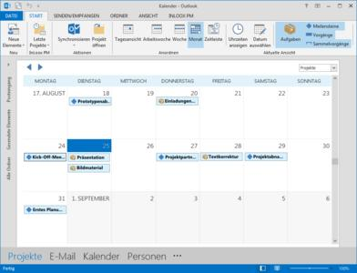 Globaler Kalender in InLoox für Outlook