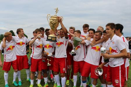 The winners of this year's BITZER Cup receiving the trophy: FC Red Bull Salzburg