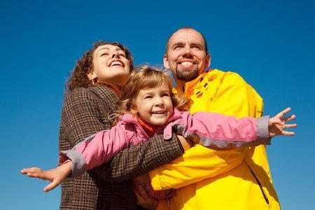 Familie und Wind