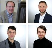Das Ilmenauer XILforEV-Forscherteam: Projektleiter Dr. Valentin Ivanov, Viktor Schreiber, Florian Büchner und Christoph Lehne (v.l.n.r., v.o.n.u.) © TU Ilmenau/Chris Liebold (1)/AnLi Fotografie (02)