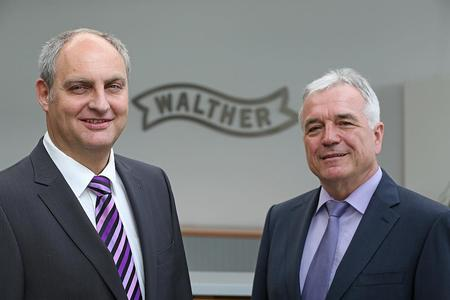 Walther's managing director Manfred Woerz (right) and his successor Alexander Lenert, Copyright notice: Carl Walther/Armin Buhl 2014