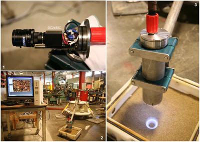 1. Nahaufnahme des Systems mit der Kamera GC2450C  -  2. Plattform mit Sandkornbild bei ersten Tests  -  3. Kamera und Beleuchtungsring bei Tests