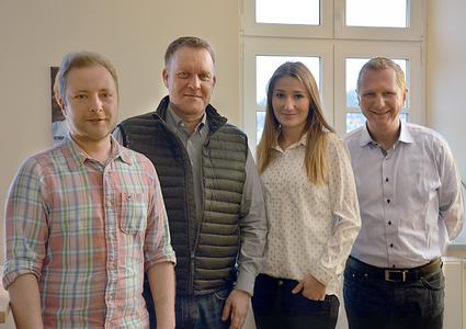 Christoph Beck (Teamleiter Mobilfunk), Peter Schwinn (Geschäftsführer Epsilon Telecom GmbH), Daniela Falter, Achim Hager (Vorstandsvorsitzender HFO Telecom AG)