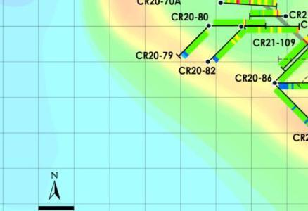 Abbildung 1 - Ergebnisse der Main Zone Western Extension und der West Zone (magnetische Gesamtintensität), Crawford Nickel Sulphide Project, Ontario