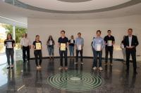 Preisträger und Teilnehmer des Wettbewerbs sowie Dr. Uwe Rentmeister und Dr. Carsten Meier, IHK Saarland, Quelle: BeckerBredel