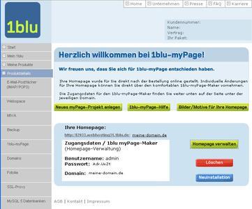1blu-myPage-Kundenservicebereich