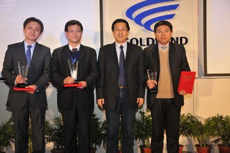 "Schaeffler Wins Goldwind ""2011 Excellent Supplier Award"": Li Zhaodong of Schaeffler China (first from left) with Mr. Wu Gang, Chairman of Goldwind Science & Technology Co., Ltd. (third from left) and other winning suppliers"