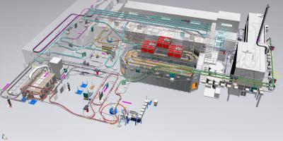 Eine Simulation für eine komplette Anlage zur Emaillierung von Herdteilen. Quelle: ASIS GmbH