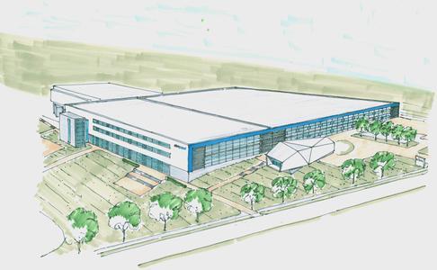 Der Erweiterungsbau mit 10.500m² schafft notwendige Kapazitäten für den Ausbau im Bereich Automobil- und Antriebstechnik