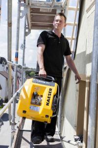 """""""Compressed air to go"""" for any construction site: i.Comp – the durable and powerful variable-speed workshop compressor that's easy to handle."""