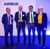 Alberto Badaya (Airbus Defence and Space, Head of Equipment & Systems), Christian Stickl (Kappa optronics, CEO), Alejandro Prensa (Kappa optronics, Global Account Manager) and Sabine Klauke (Airbus Defence and Space, Head of Engineering)